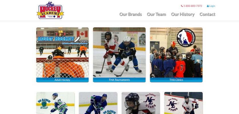 Hockey Academy front page screenshot