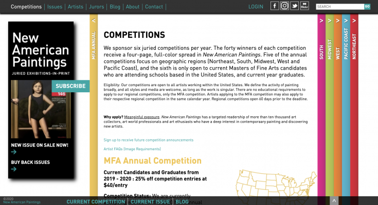Screenshot of competition page